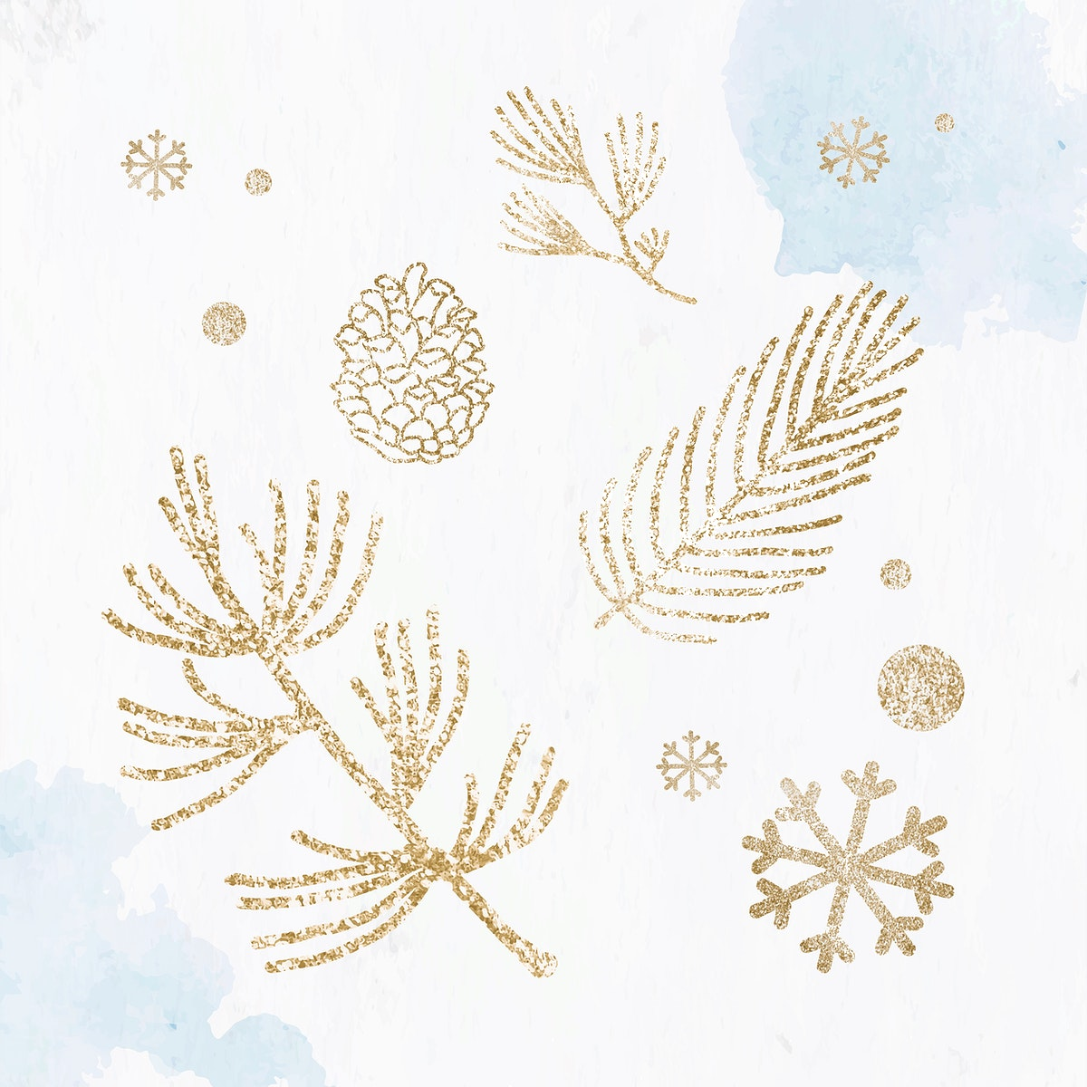 Glittery pine branch and conifer cone pattern vector