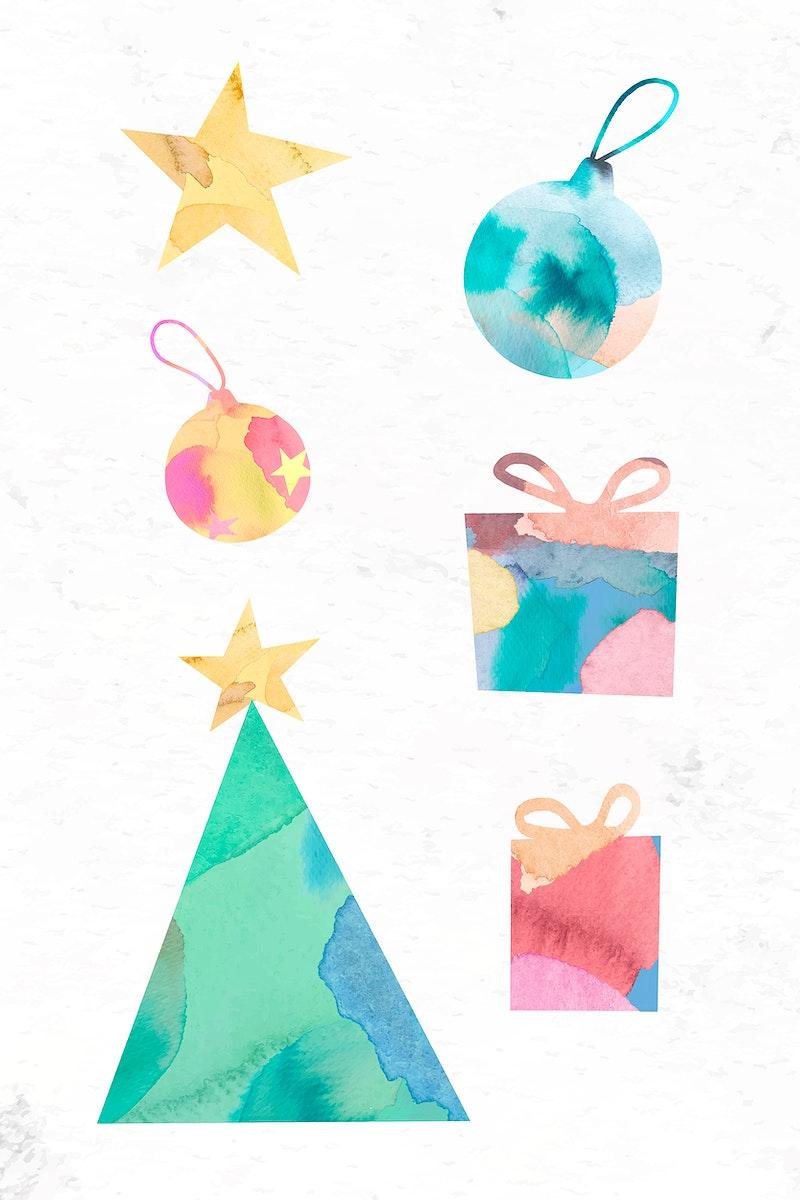 Christmas ornamental elements set vector