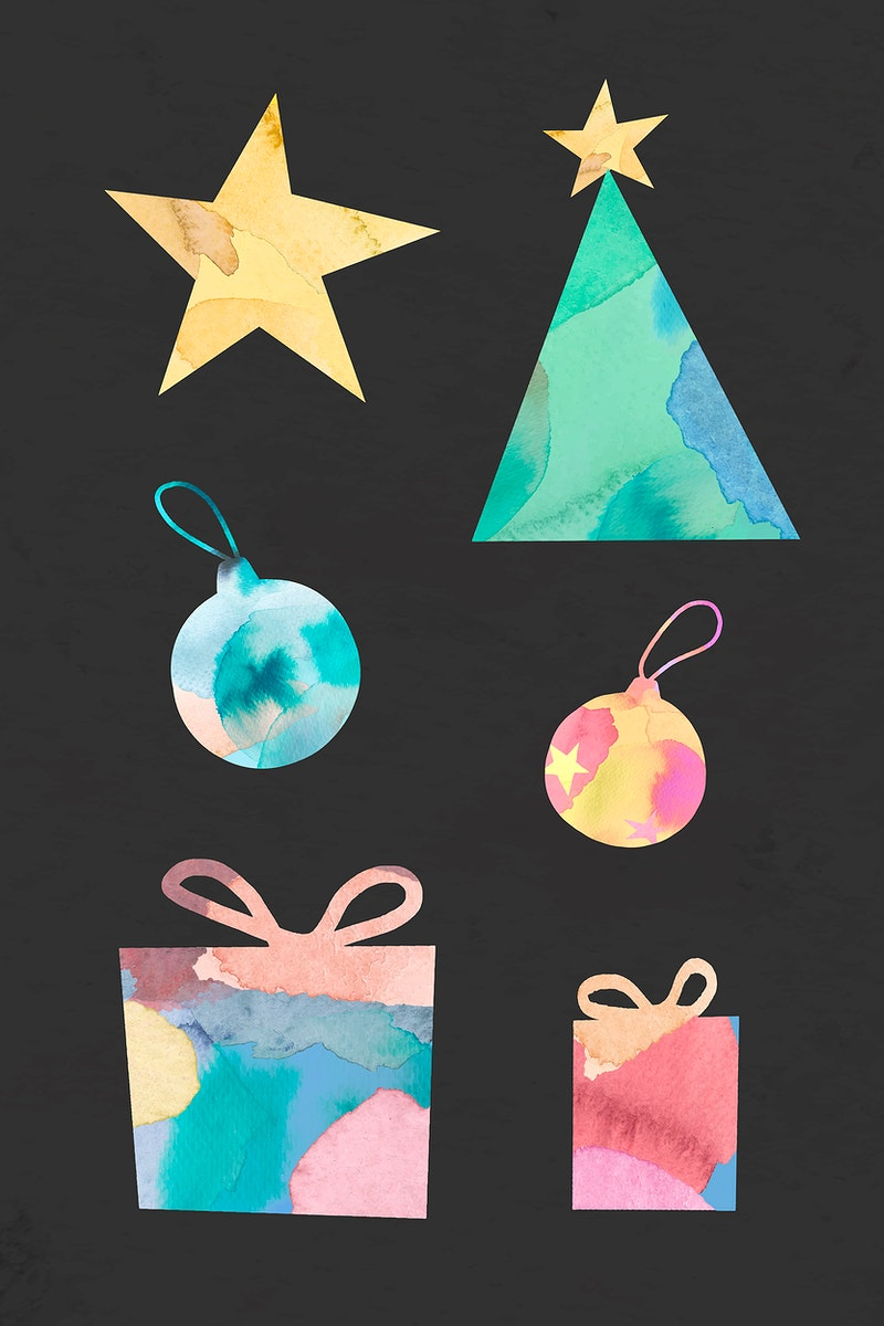 Christmas decorative ornaments on black background vector