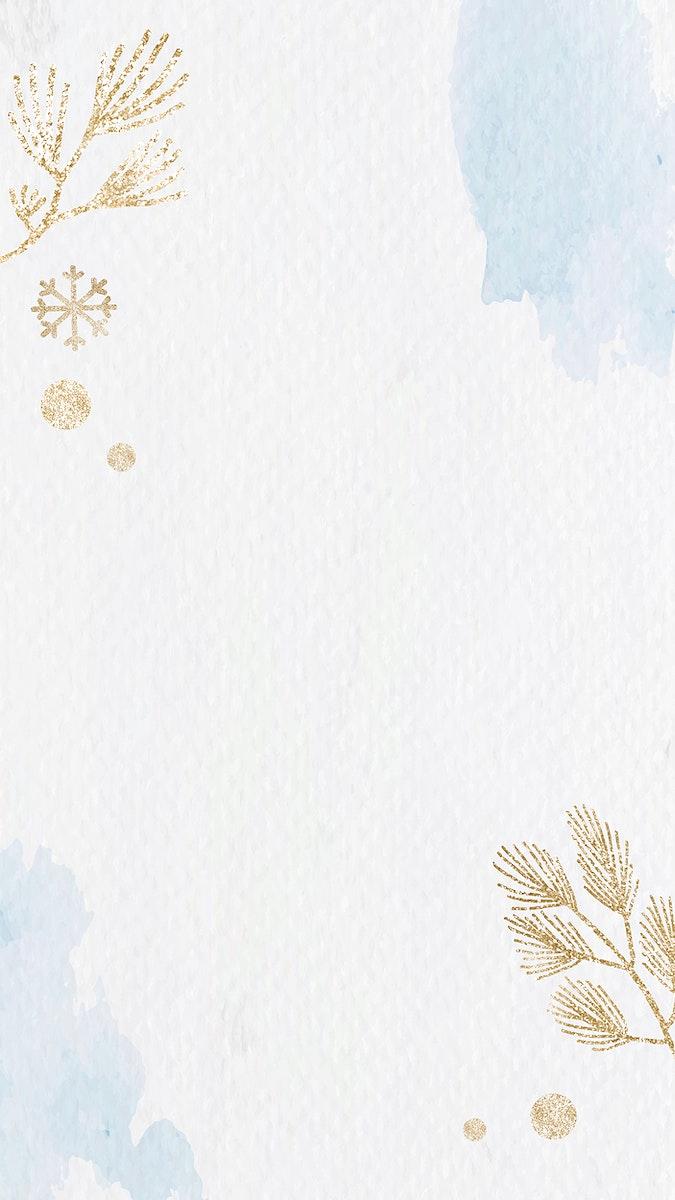 Shimmery gold botanical mobile phone wallpaper vector