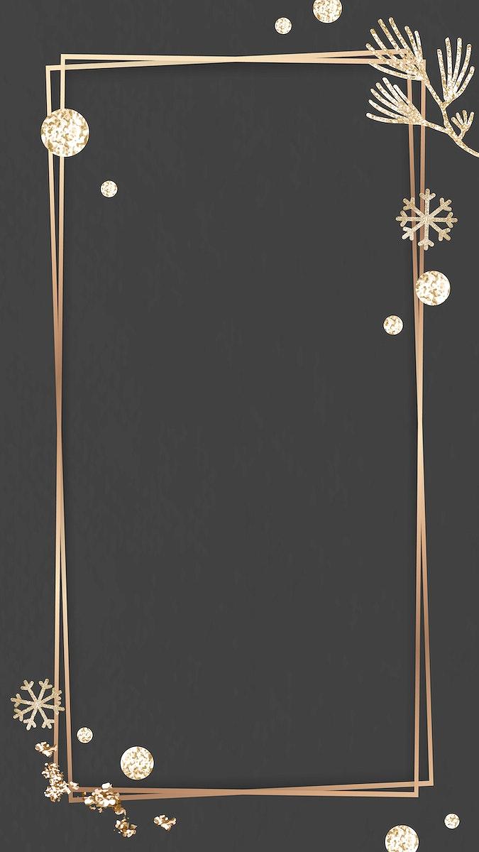 Shimmery botanical gold frame on black mobile phone wallpaper vector