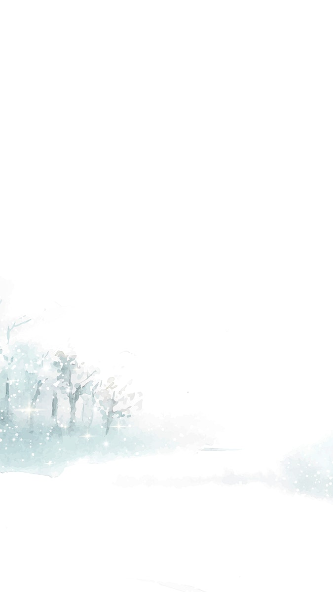 Watercolor snowy winter landscape mobile phone wallpaper vector