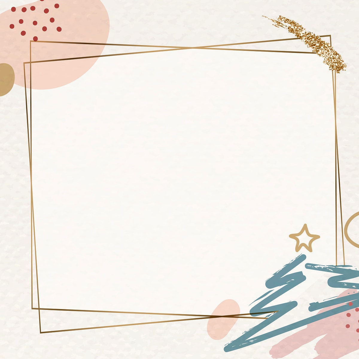 Gold frame on Christmas pattern background vector