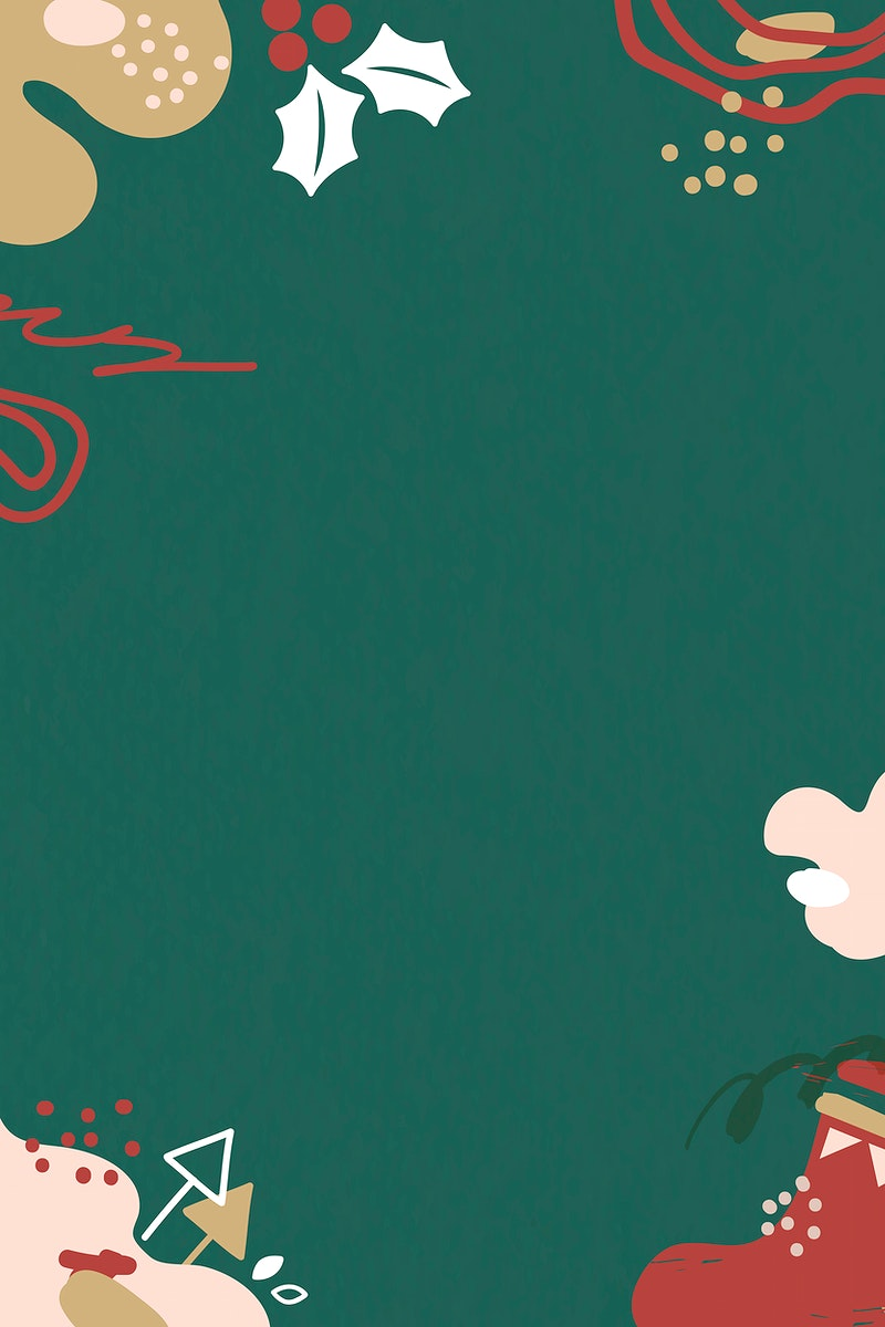 Christmas patterned on green background vector