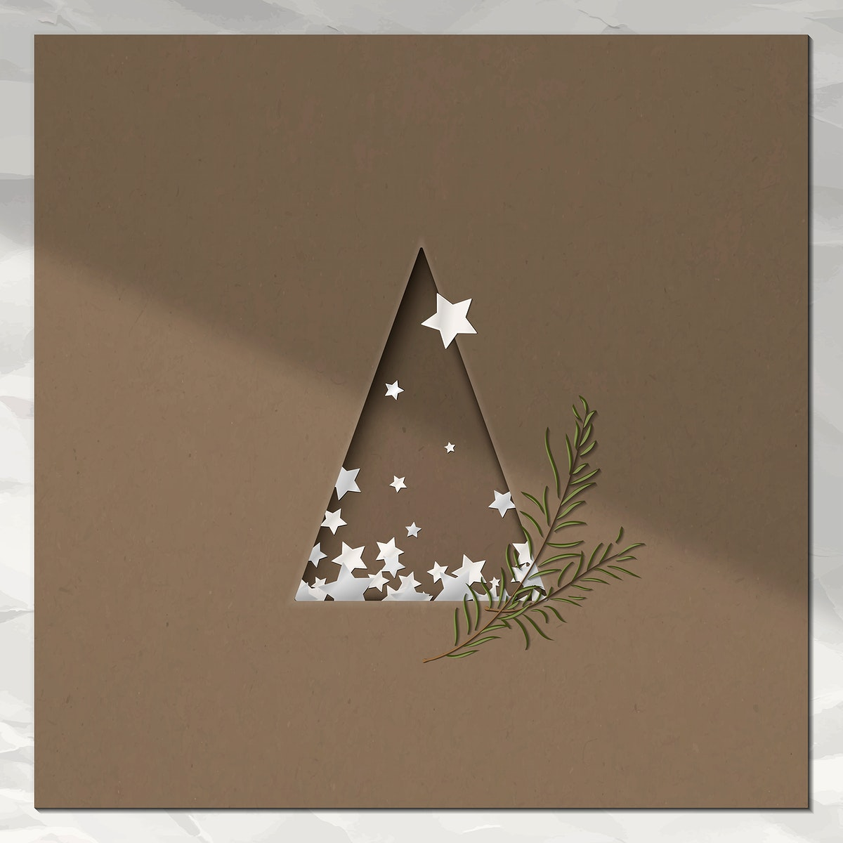 Paper cut Christmas tree with leaves greeting card design vector
