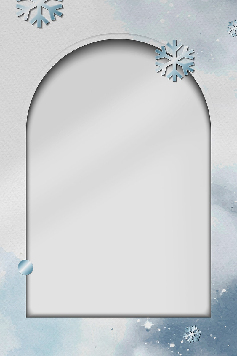 Rectangle frame with blue snowflakes on white paper background vector