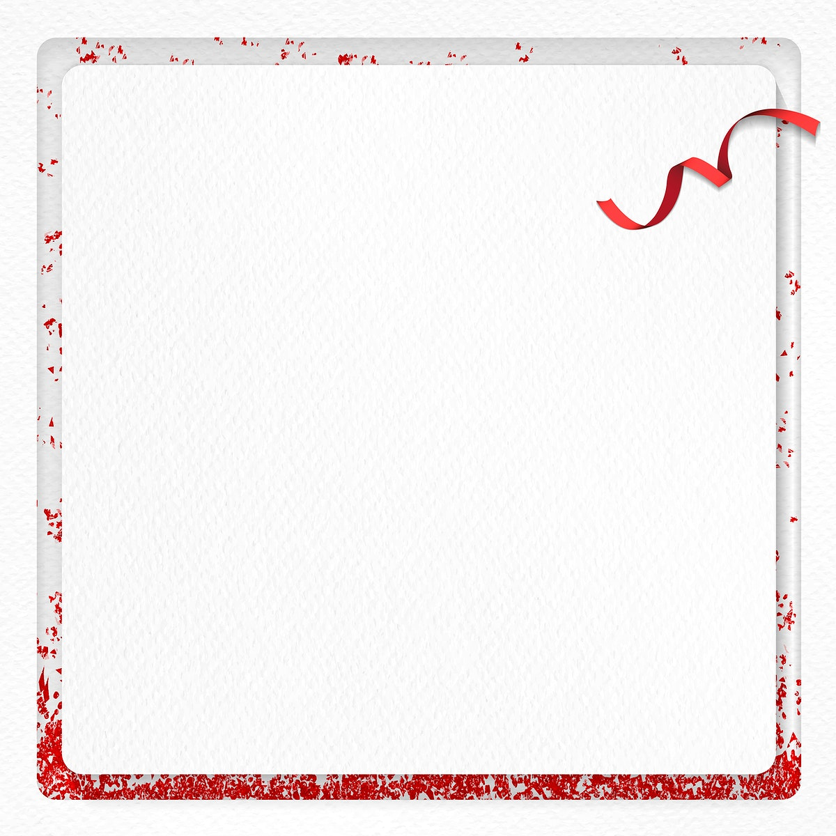 Christmas paper greeting card design with red glitter frame vector