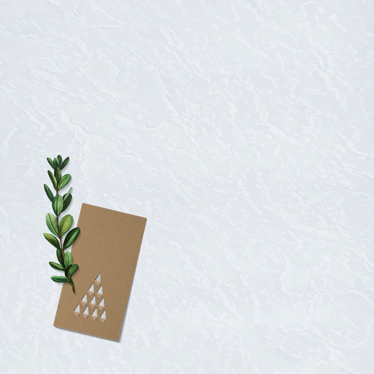 Paper cut Christmas tree greeting card design with leaves on black background vector