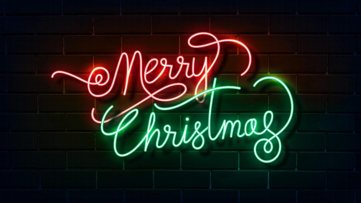 Merry Christmas neon sign on a dark brick wall vector