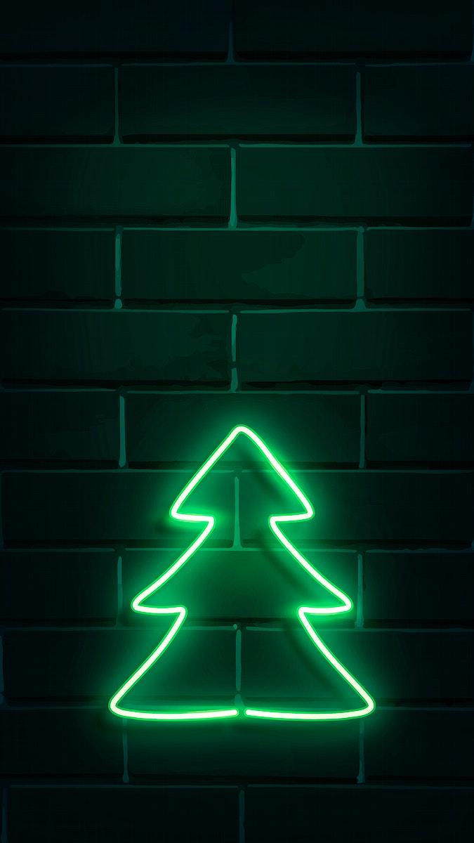 Christmas tree neon sign on a dark brick wall vector