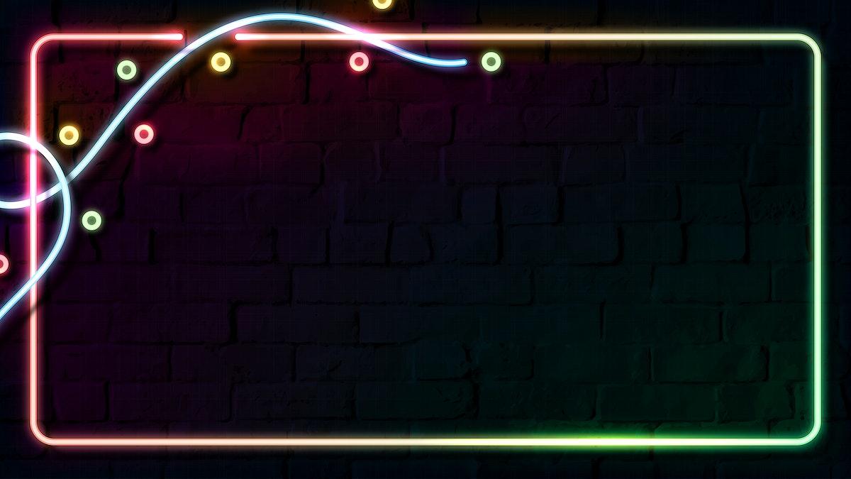 Rectangle colorful neon frame design on a dark brick wall vector