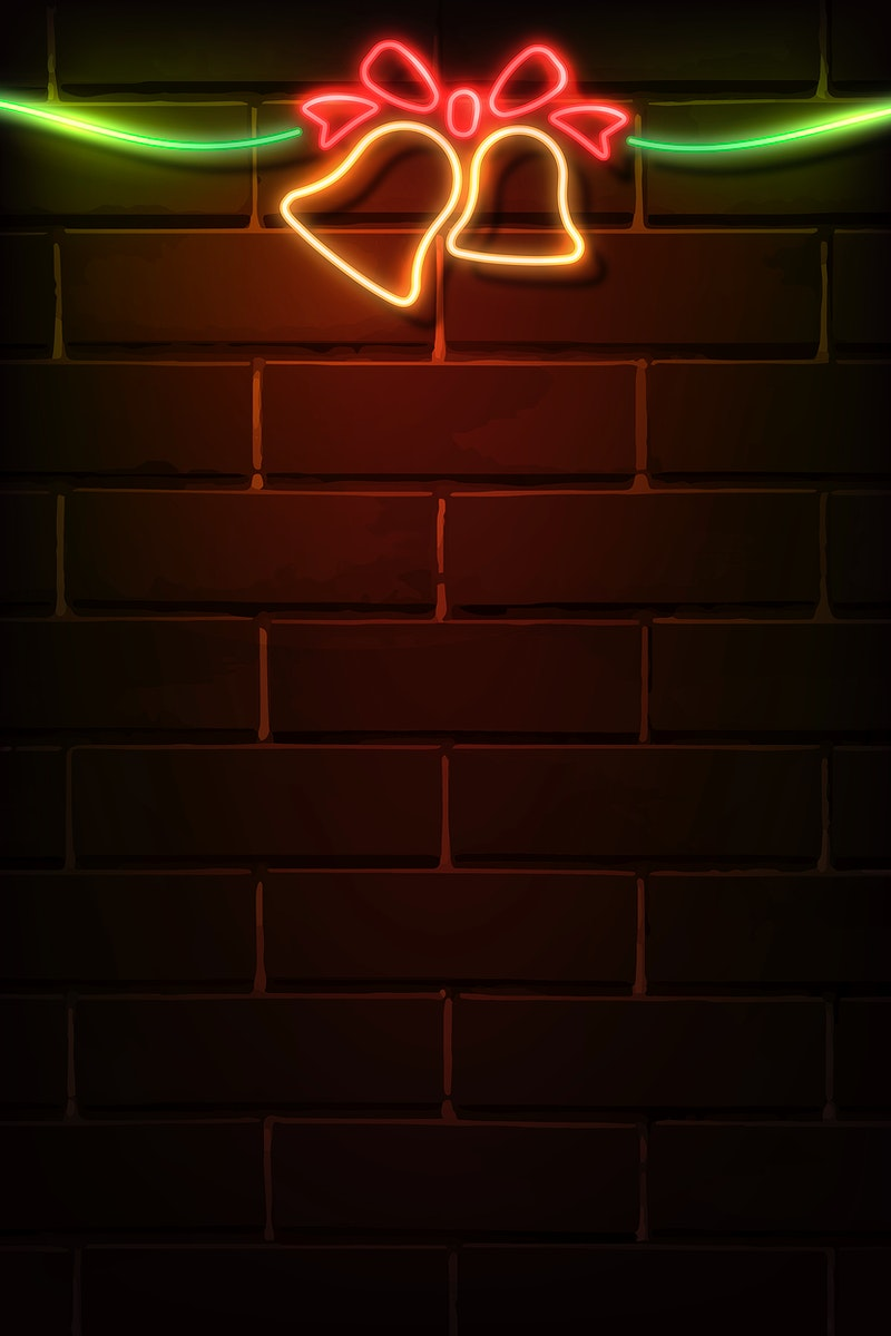Christmas bell neon sign on a dark brick wall vector