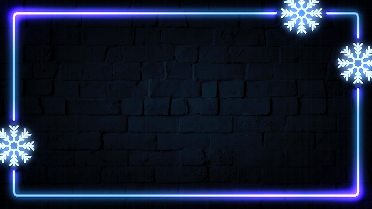 Rectangle neon frame design with snowflakes on a dark brick wall vector