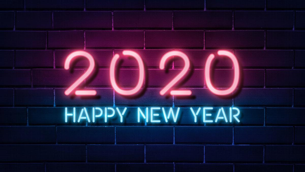 Neon bright happy new year wallpaper