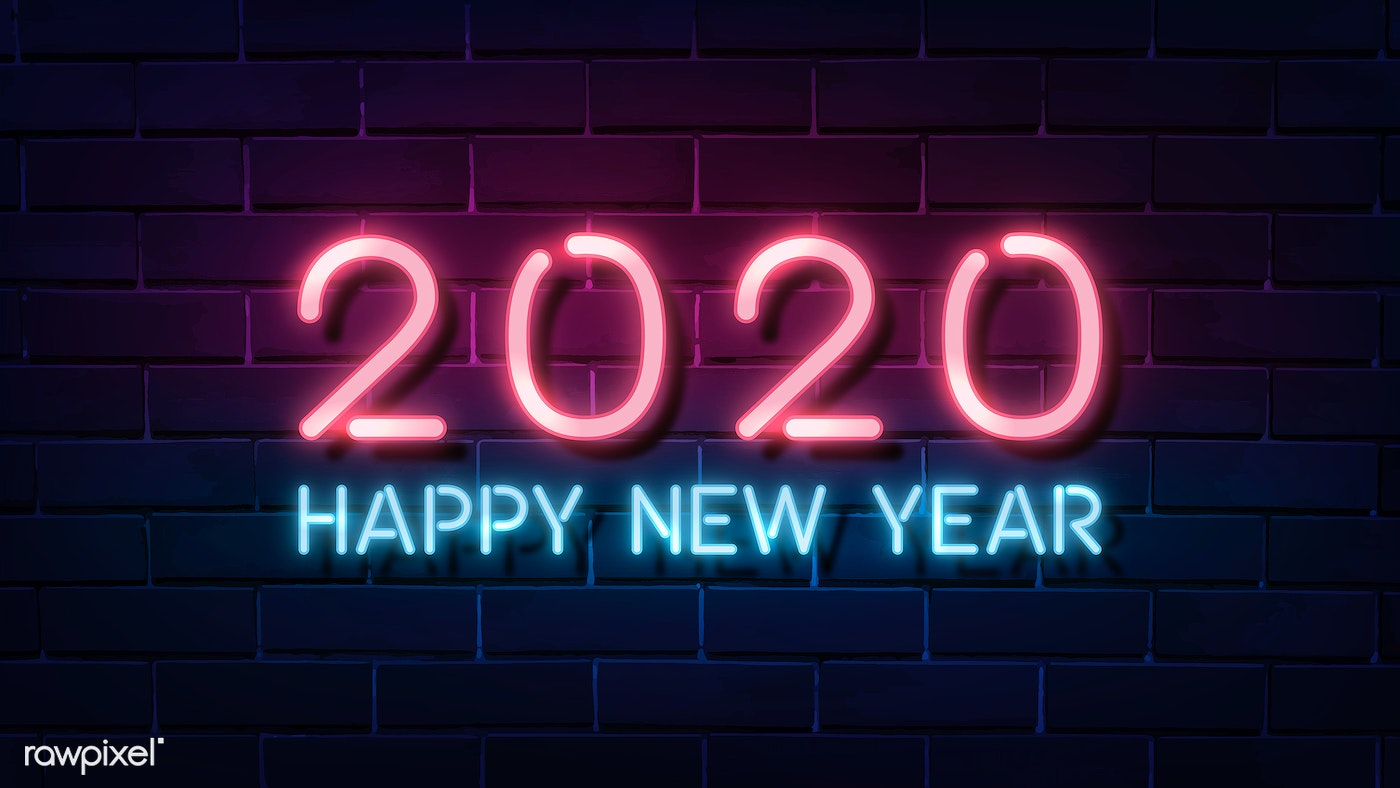 2020 Happy New Year Pink Neon Wallpaper Free Stock Vector