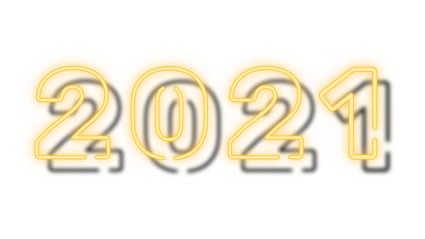 2021 Happy New Year yellow neon png | Royalty free stock ...