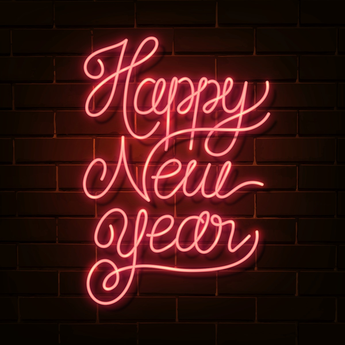 Neon bright happy new year social ads template