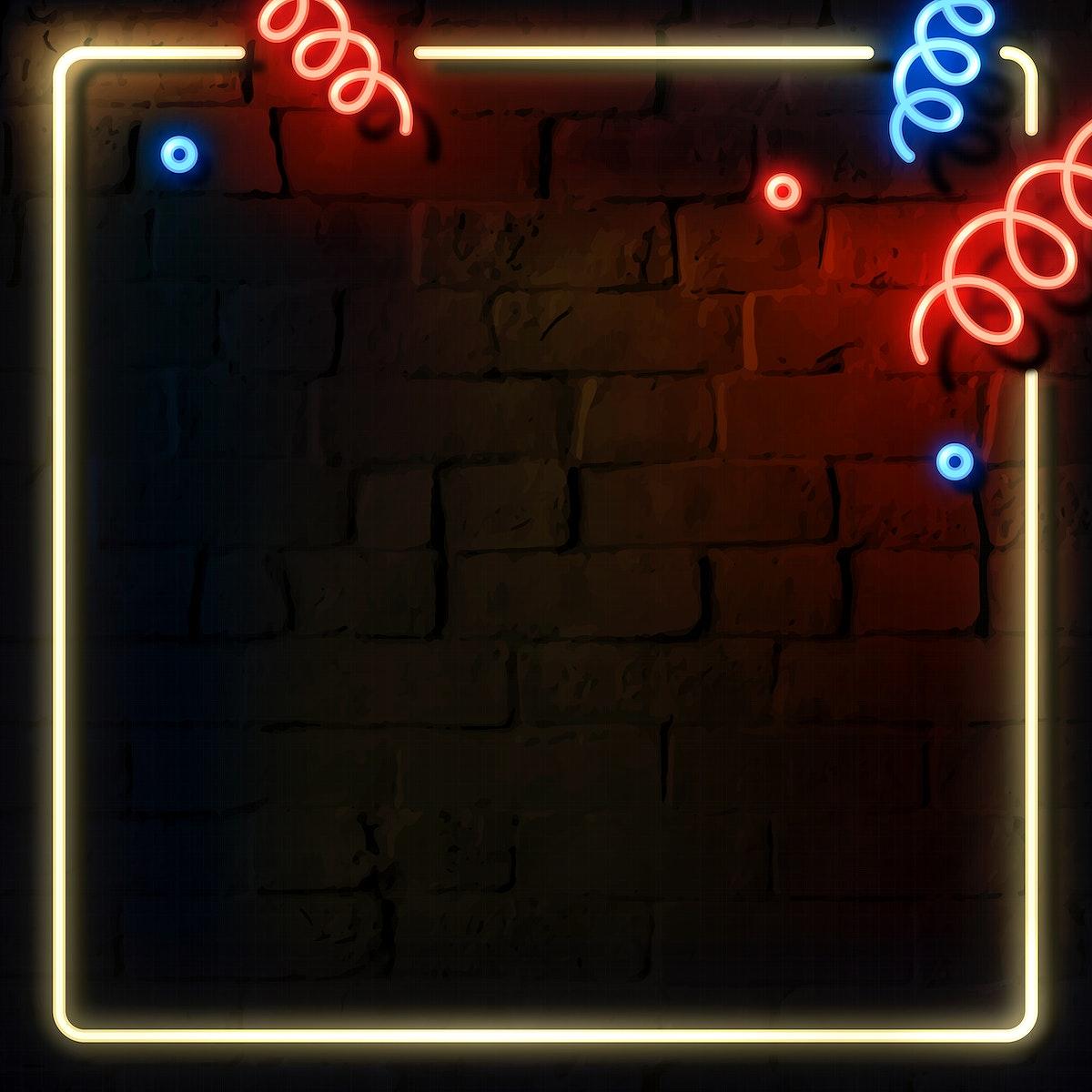 Blank festive neon frame social ads template