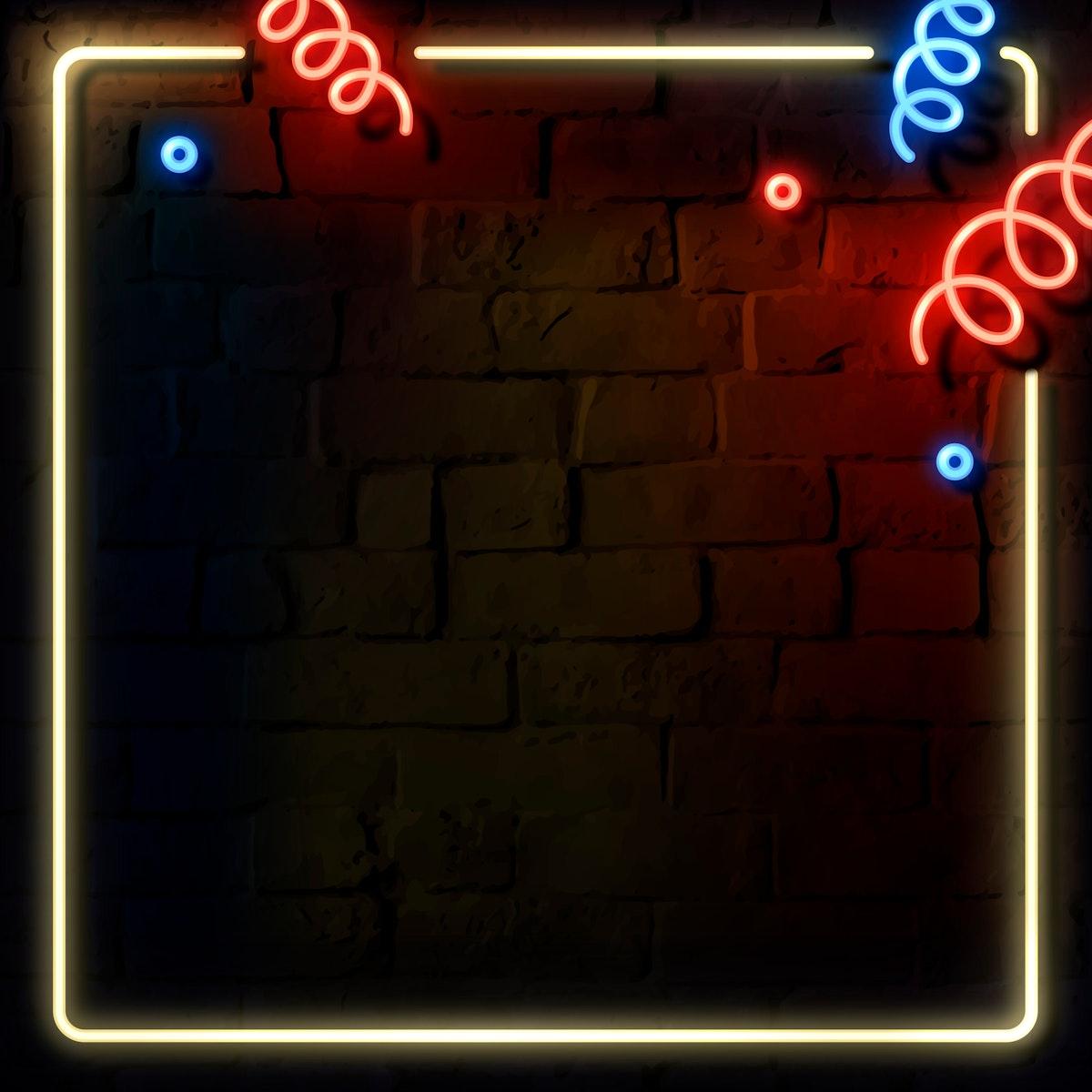 Blank festive neon frame social ads template vector