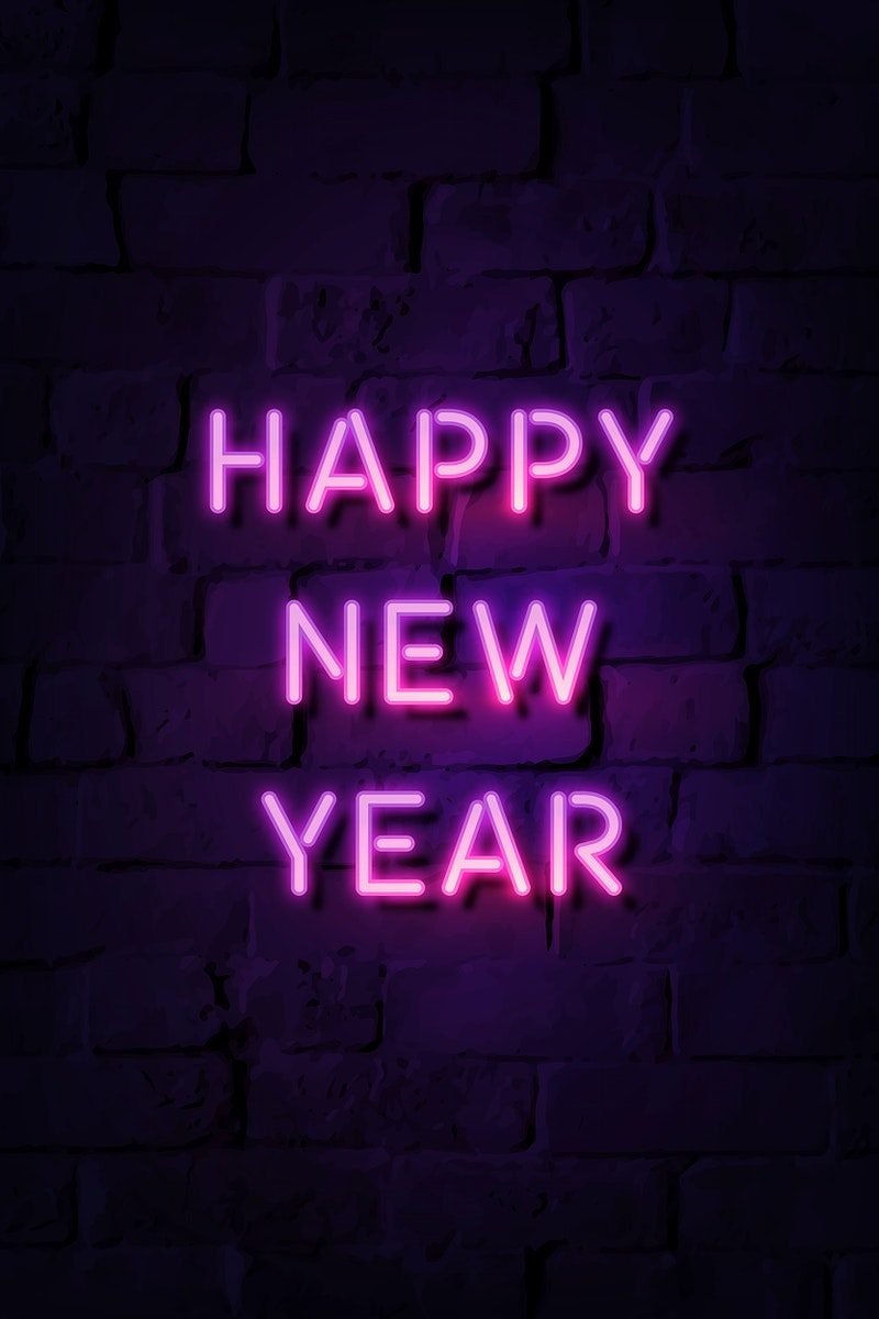 Neon bright happy new year sign