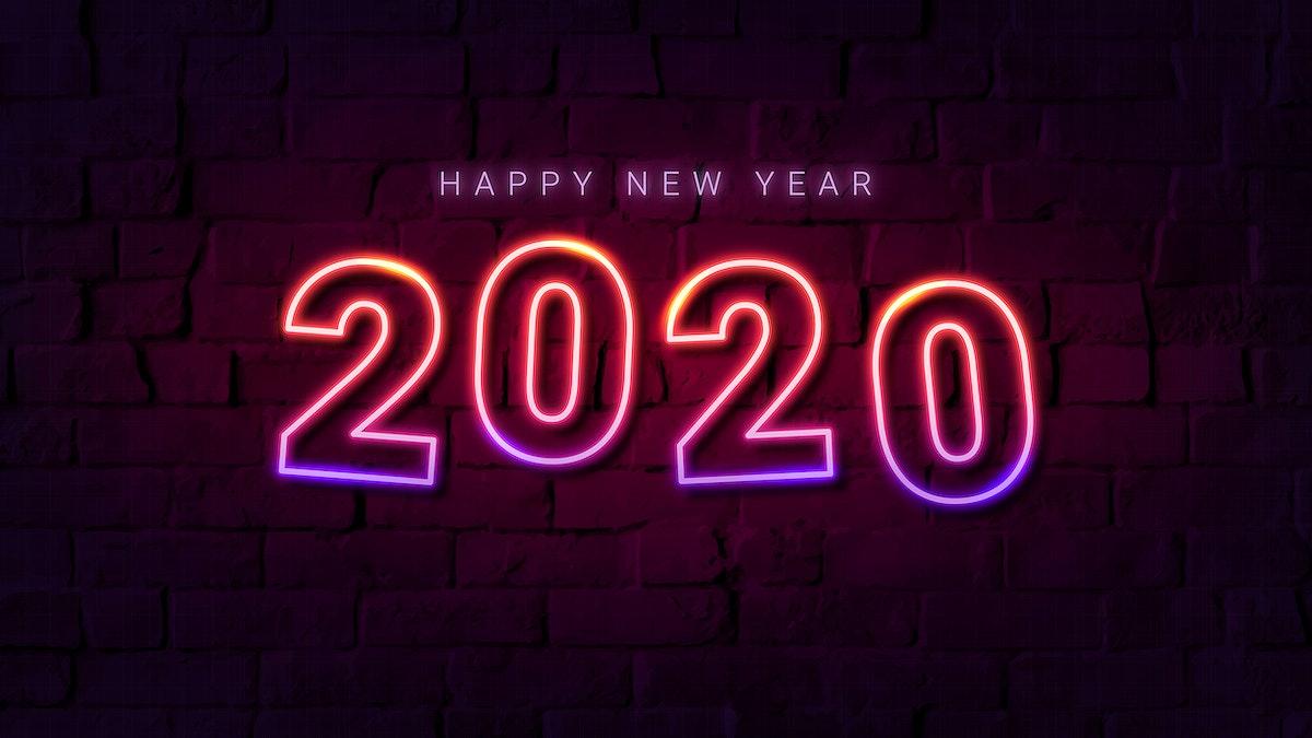 Neon pink happy new year 2020 wallpaper vector
