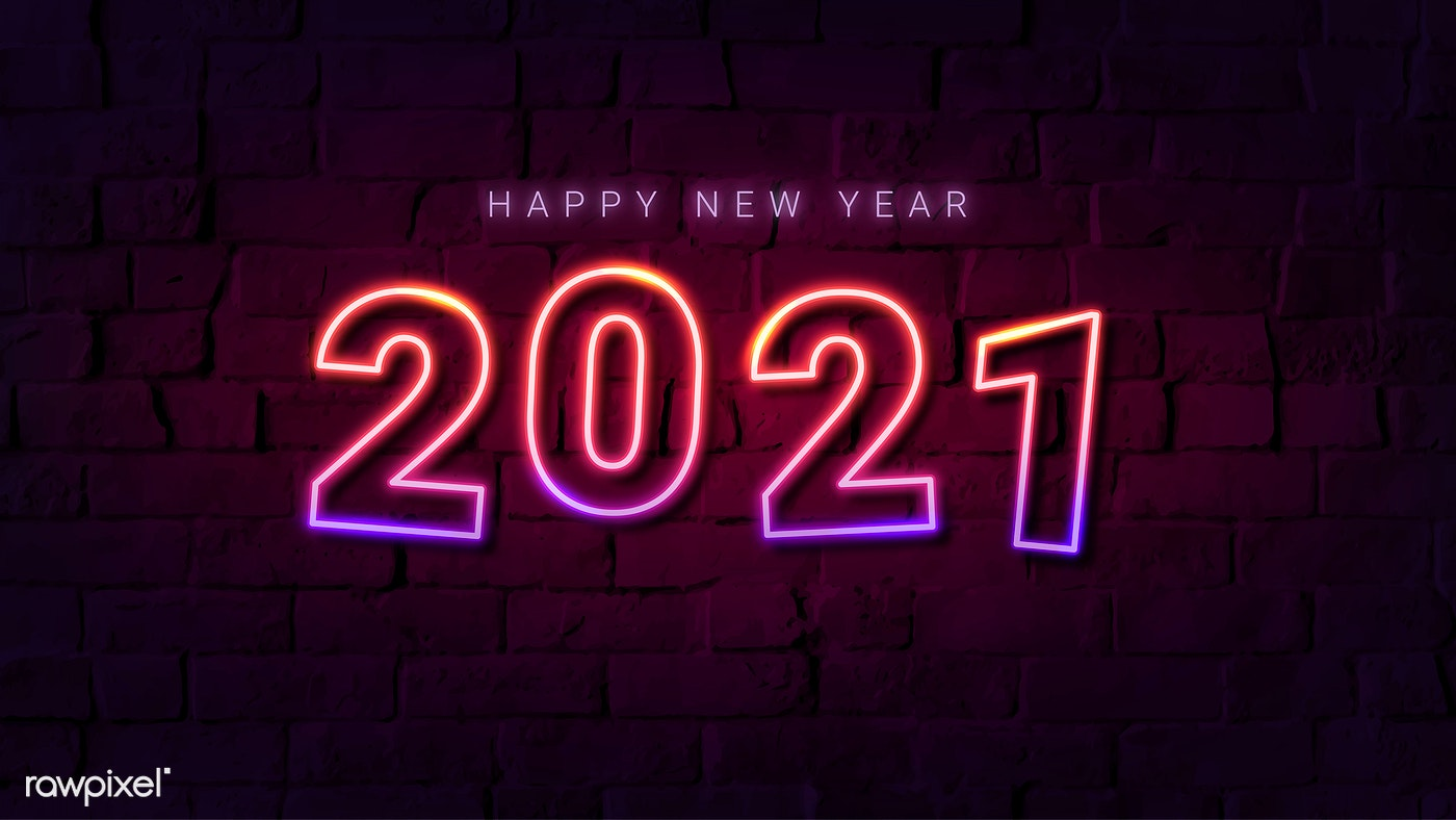 2021 Happy New Year gradient neon wallpaper | Royalty free stock illustration - 1232180