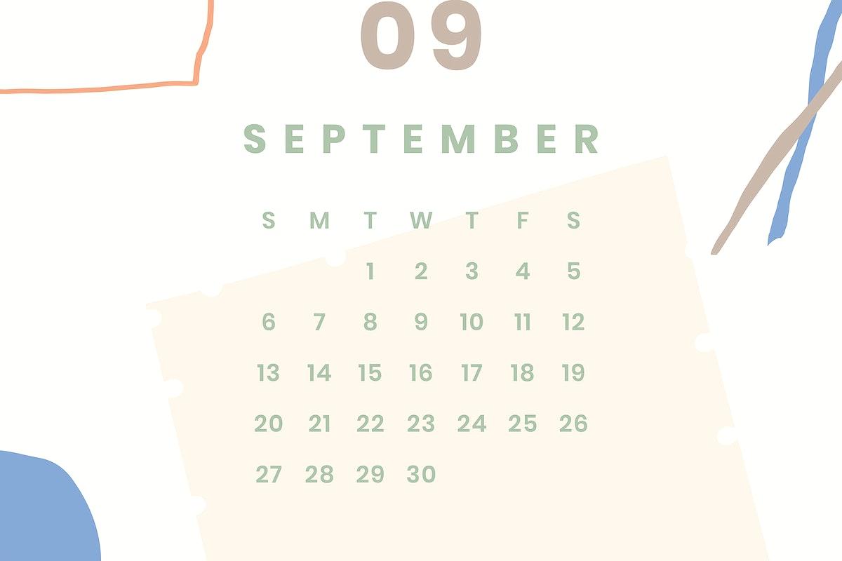 Colorful September calendar 2020 vector