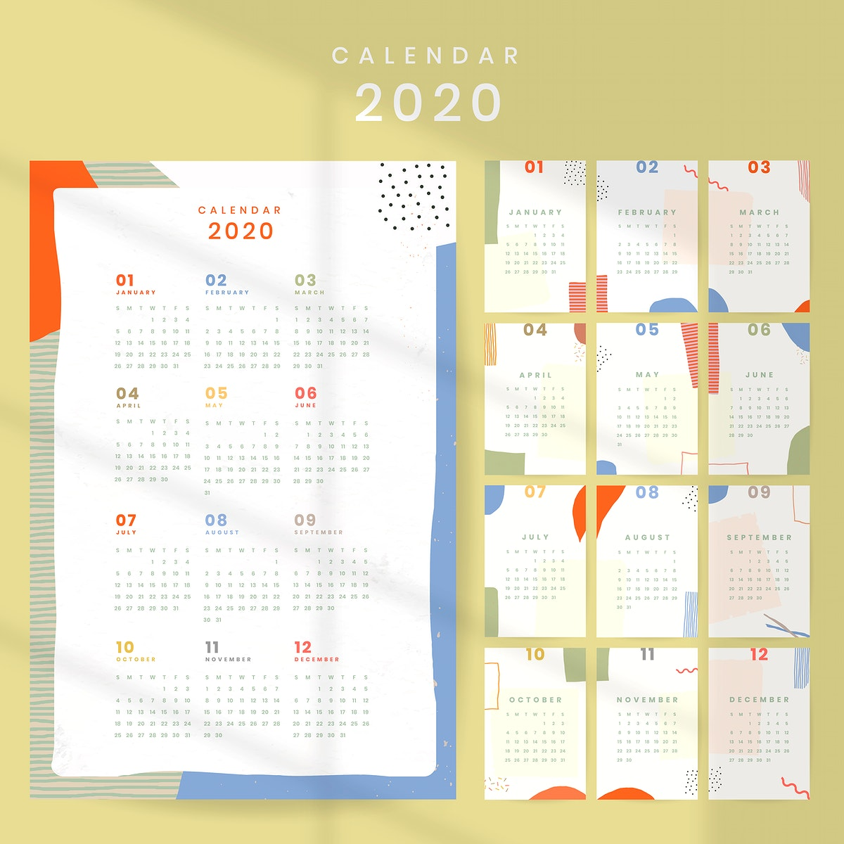 Colorful calendar 2020 vector set
