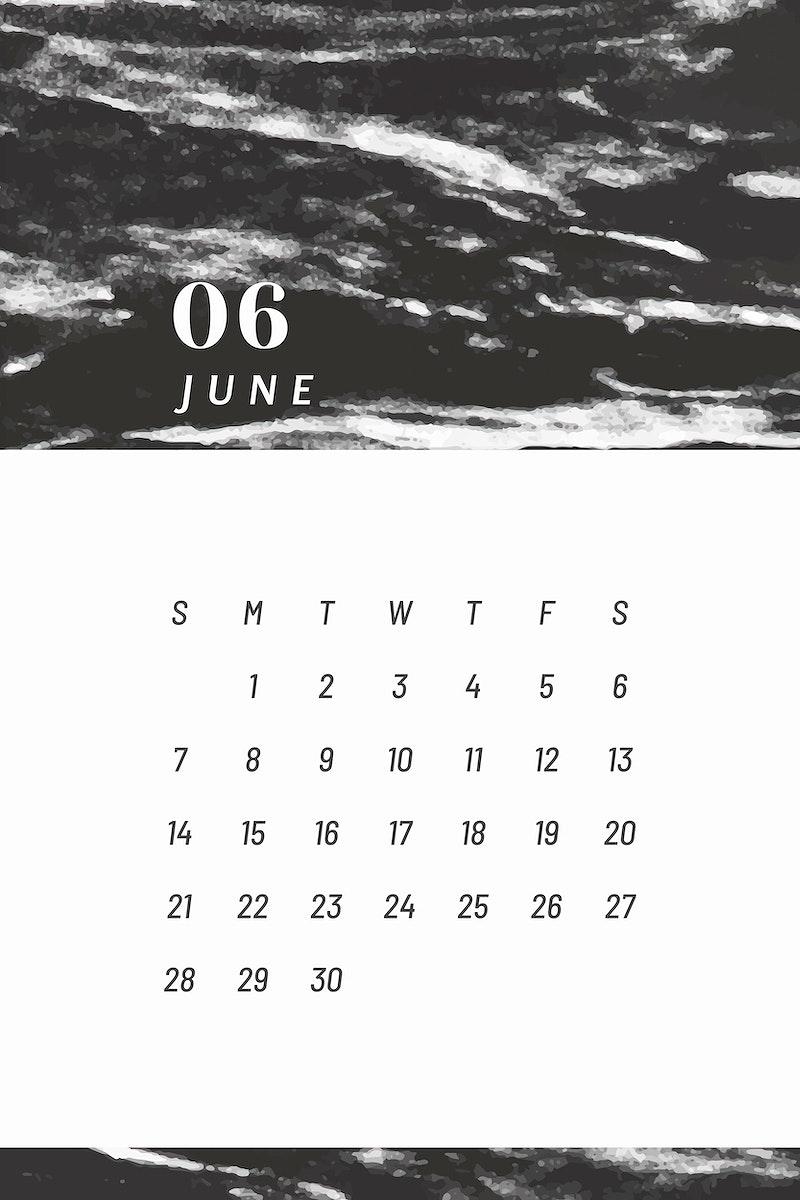 Black June calendar 2020 vector