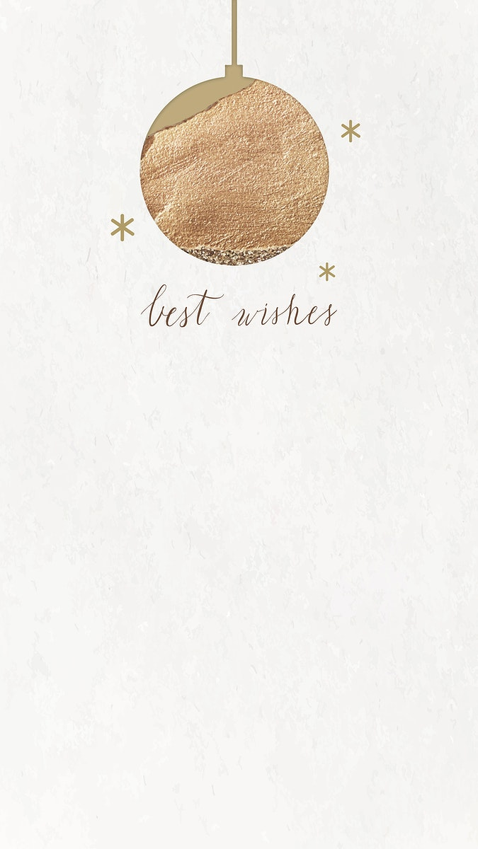 New Year gold ball and shimmering star lights with best wishes hand drawn mobile phone wallpaper vector