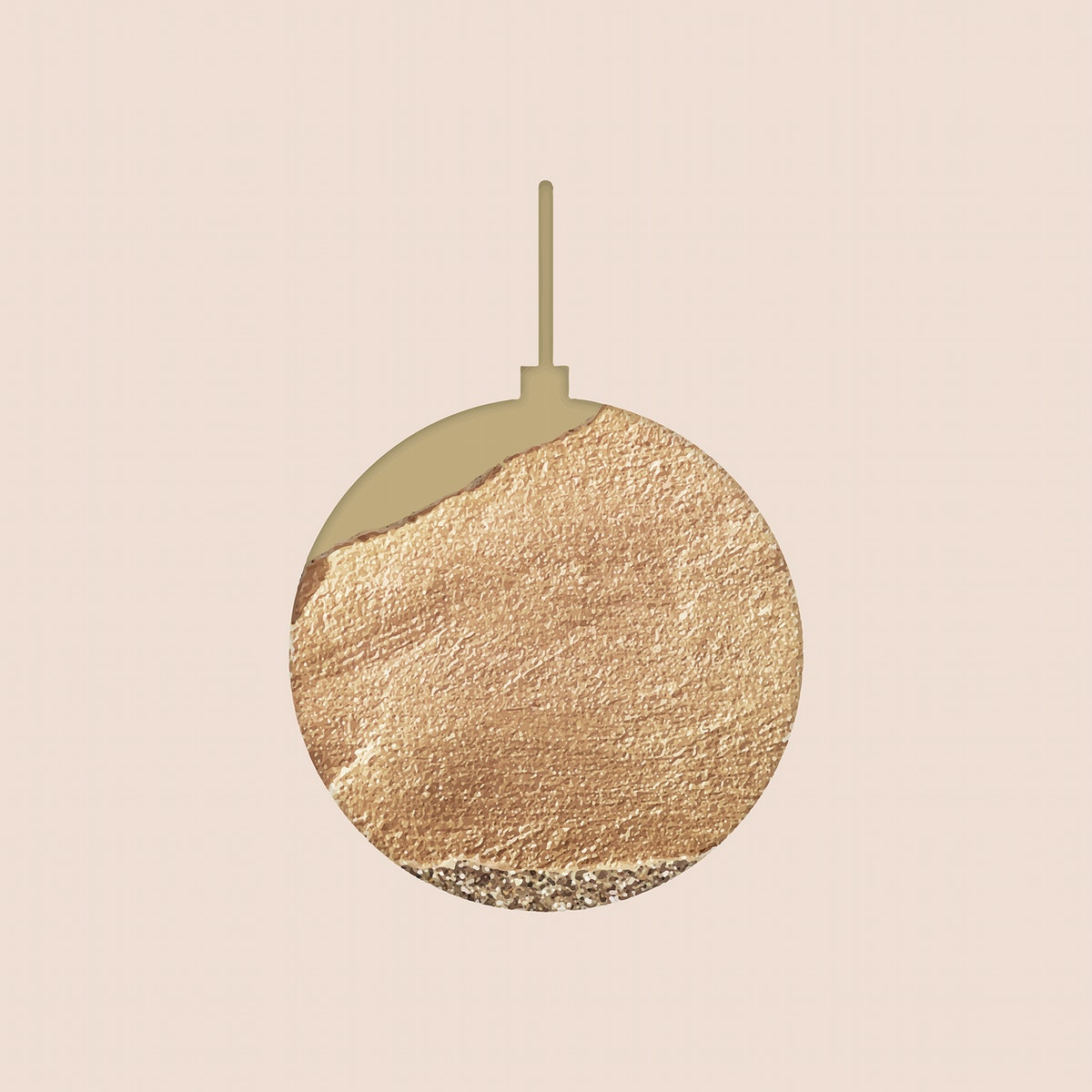 New Year gold ball doodle on beige background vector