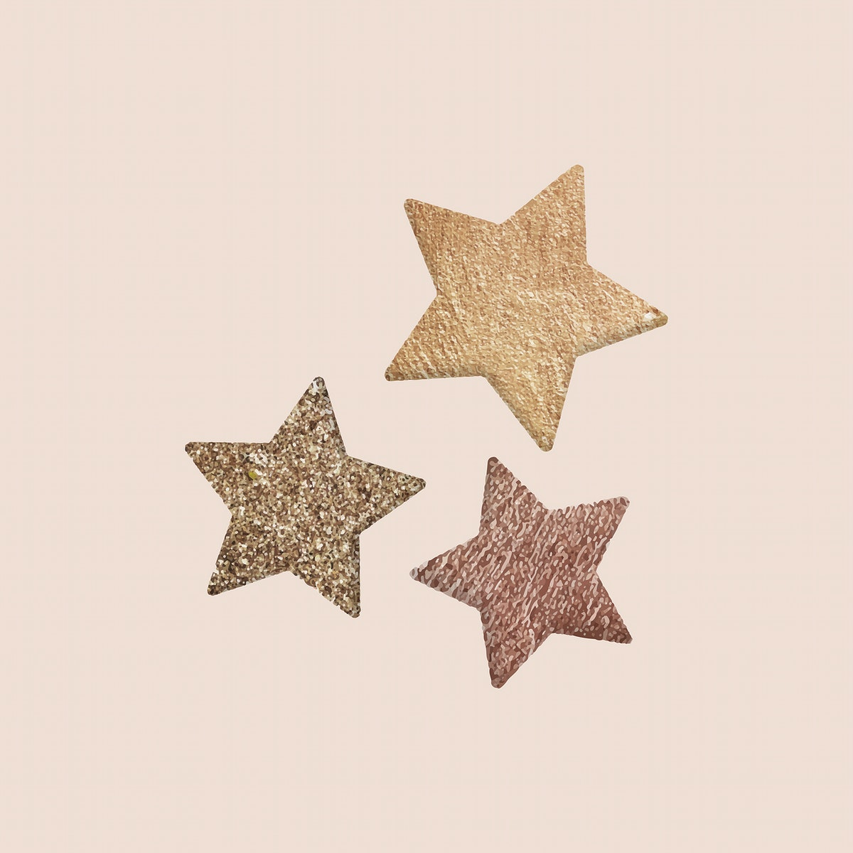 New Year gold stars doodle on beige background vector