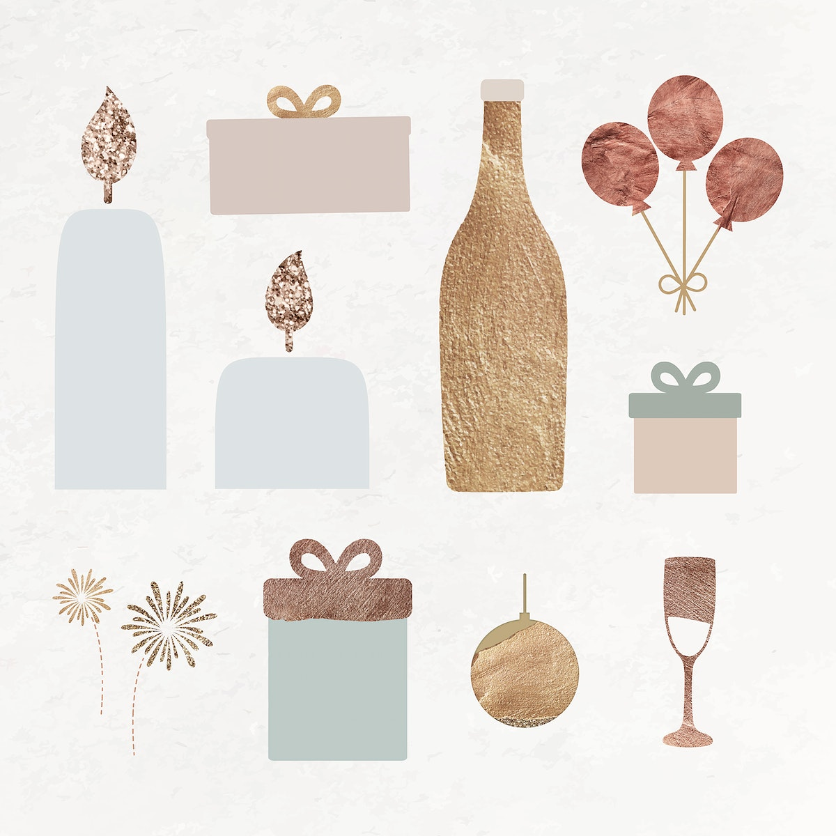New Year pillar candles, wine bottle, gift boxes, balloons, wine glass, gold ball and fireworks doodle on textured background…