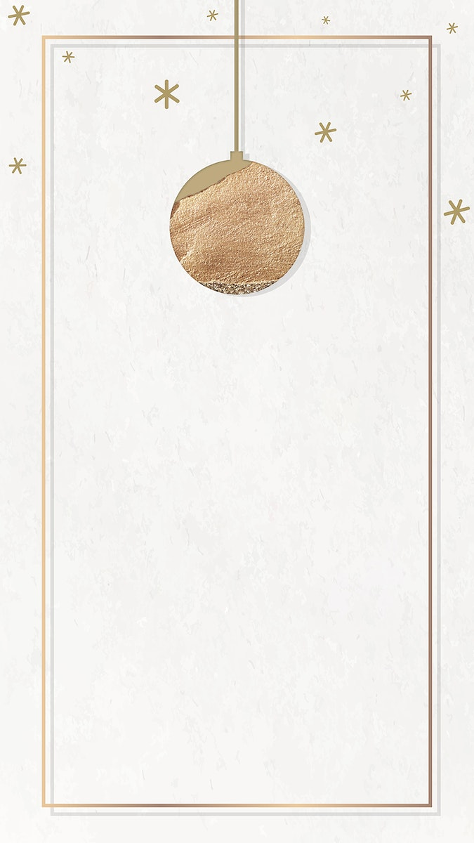 New Year gold ball with shimmering star lights frame design mobile phone wallpaper vector
