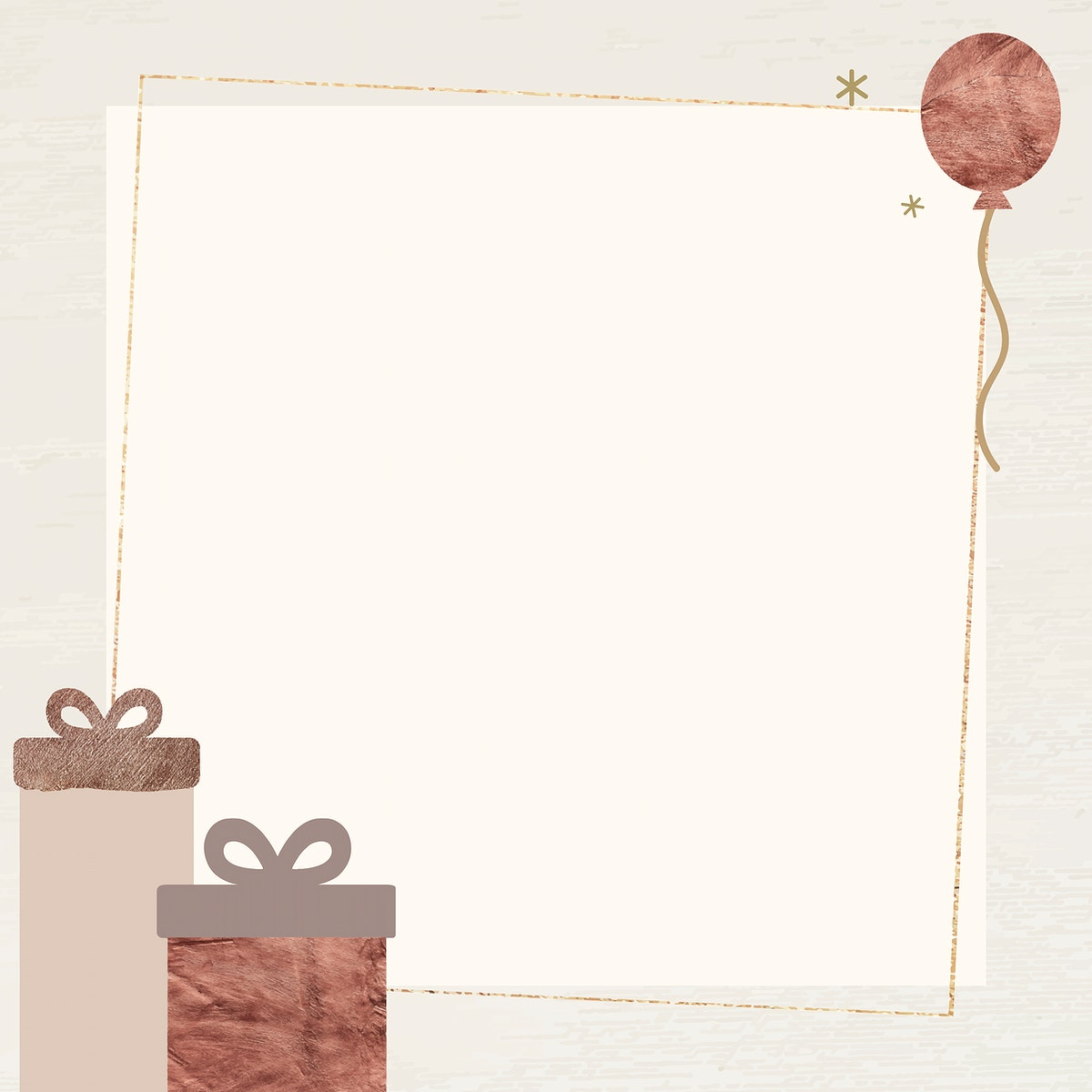 New Year gift boxes and ballon with shimmering star lights frame design vector