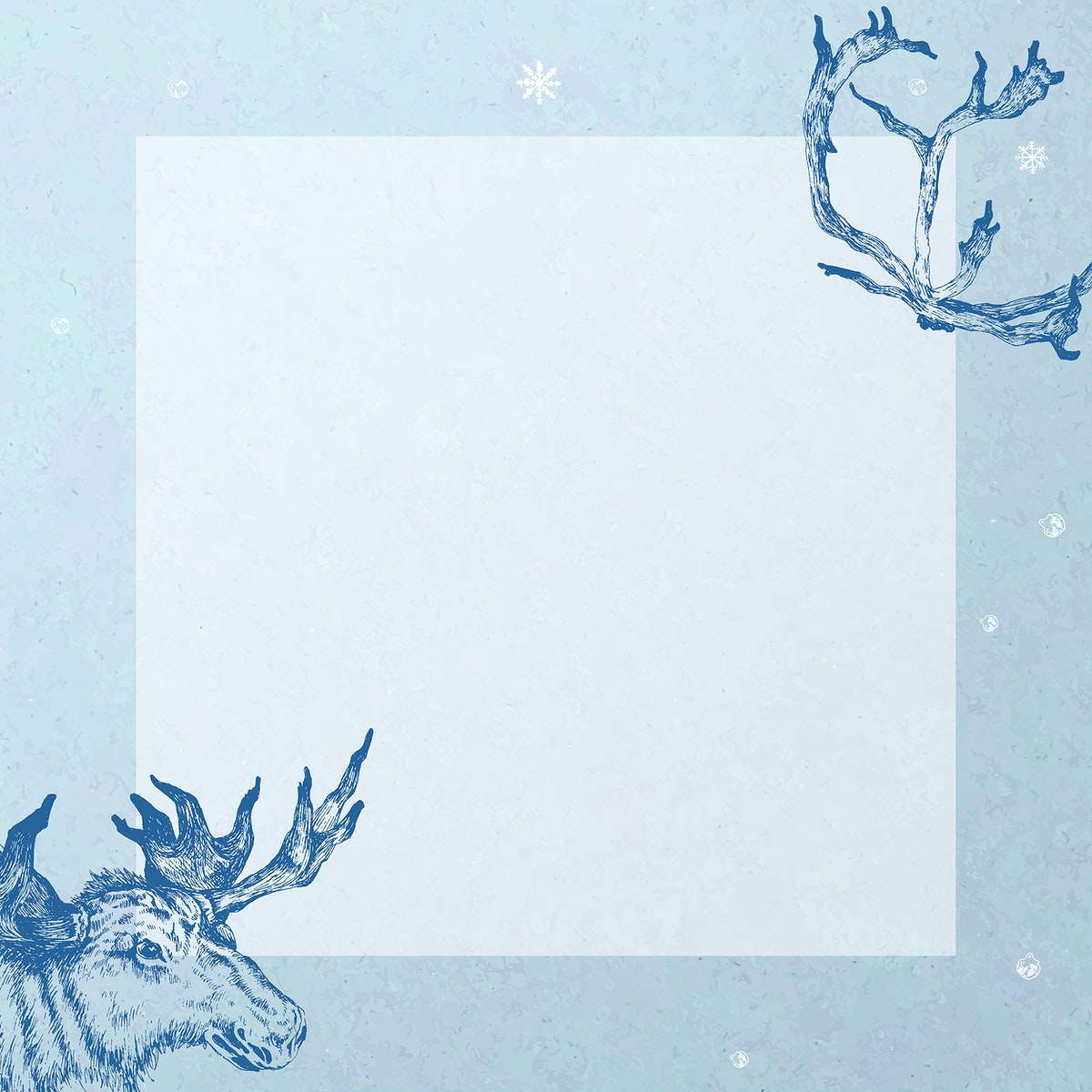 Golden square frame with a deer social ads template vector