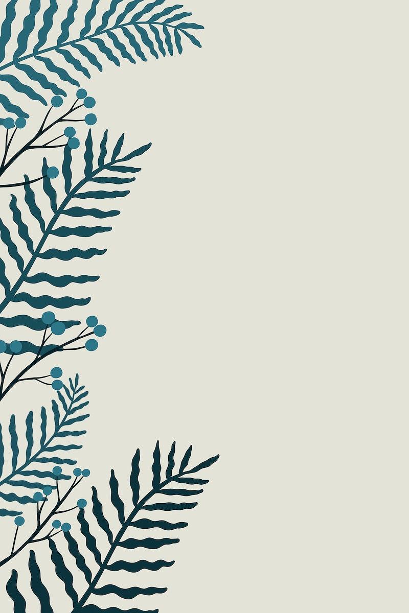 Leafy botanical copy space on a gray background illustration