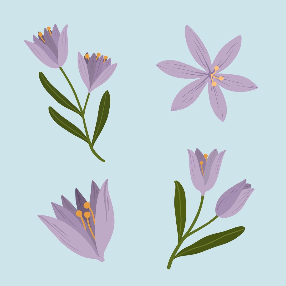 Botanical purple flower social ads template illustration