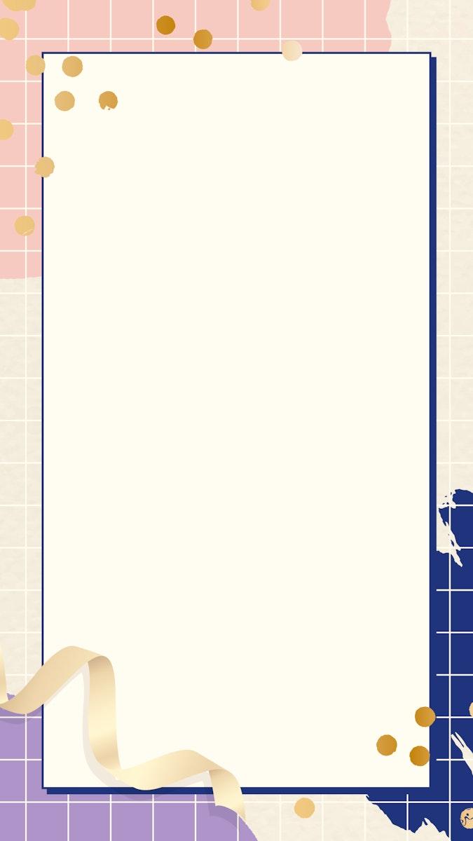 Rectangle frame on Memphis pattern mobile phone wallpaper vector