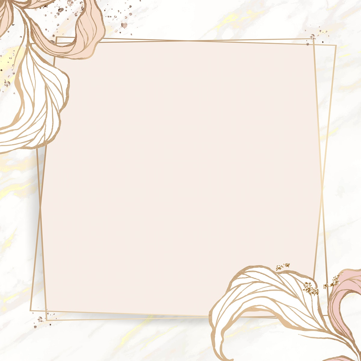 Rectangle frame with outline leaves decoration vector