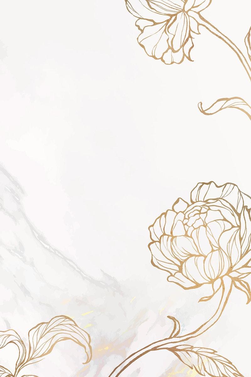 Gold floral outline on marble background vector