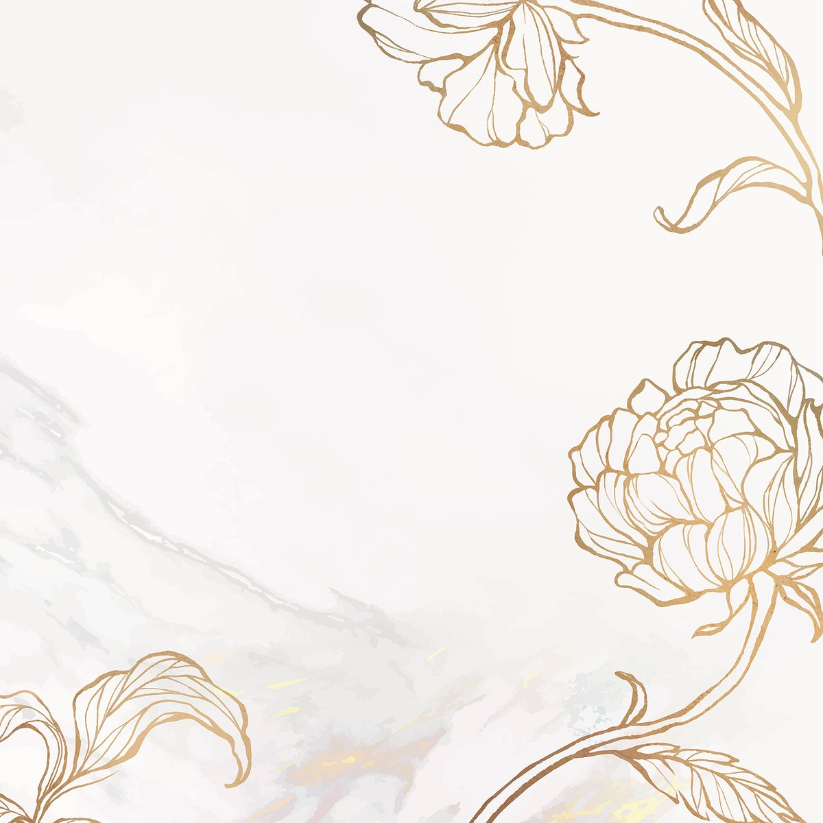 Gold leaves outline on marble background