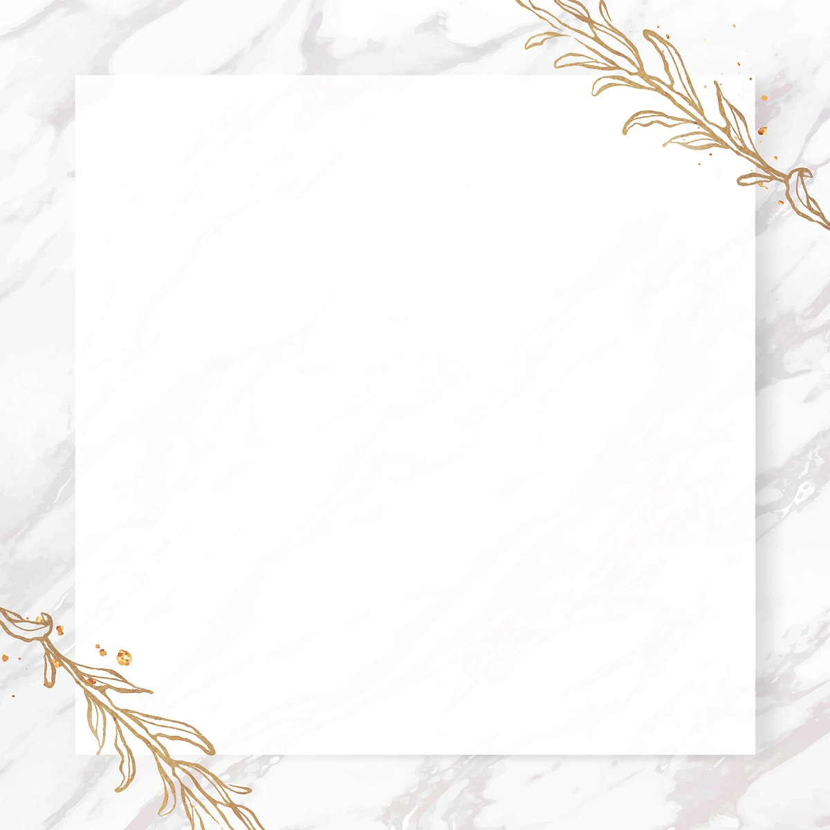 Gold leaves frame on marble background