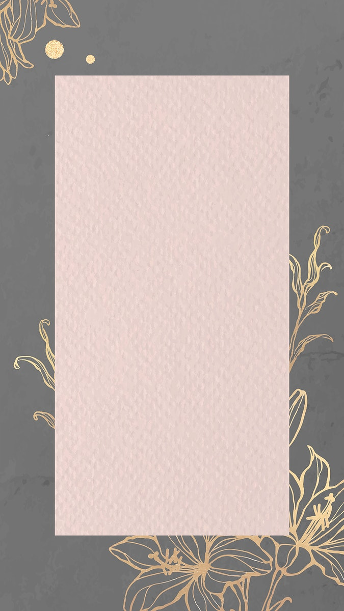 Rectangle pink paper on gold floral background mobile phone wallpaper vector