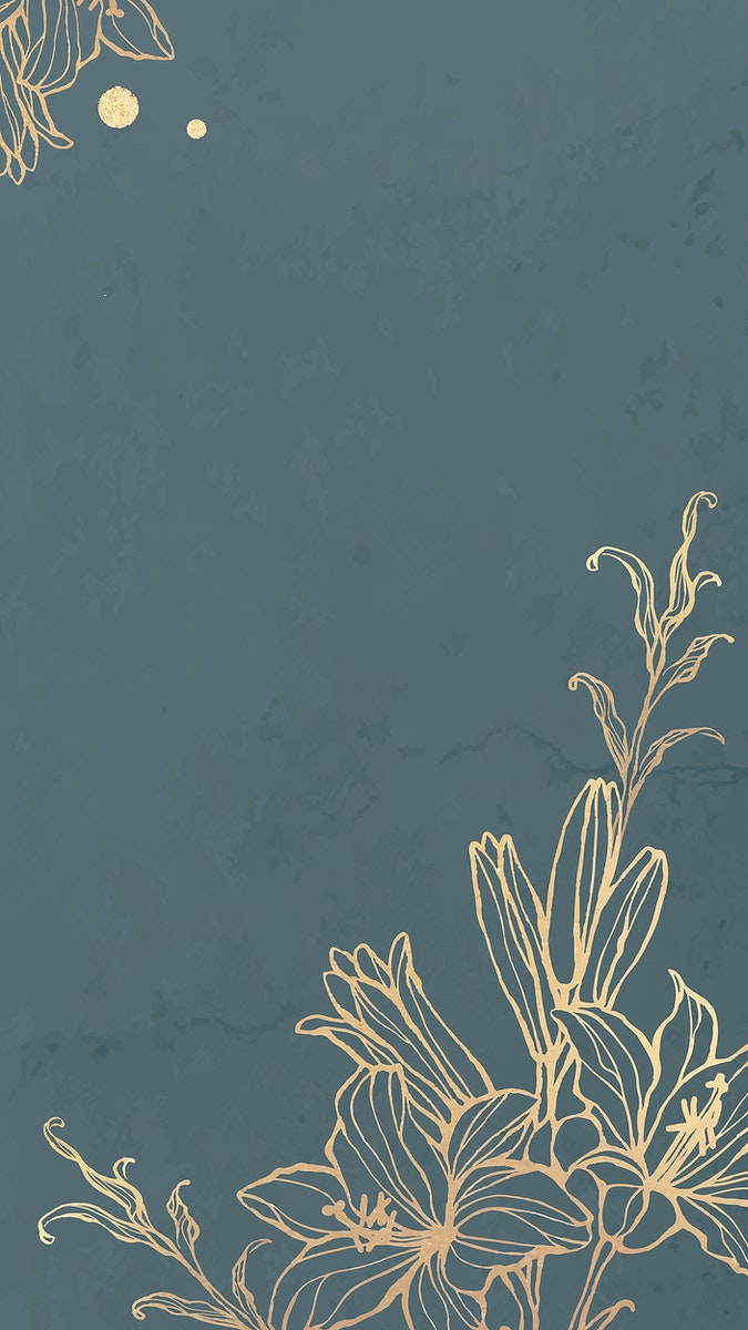Gold floral outline on marble background mobile phone wallpaper vector