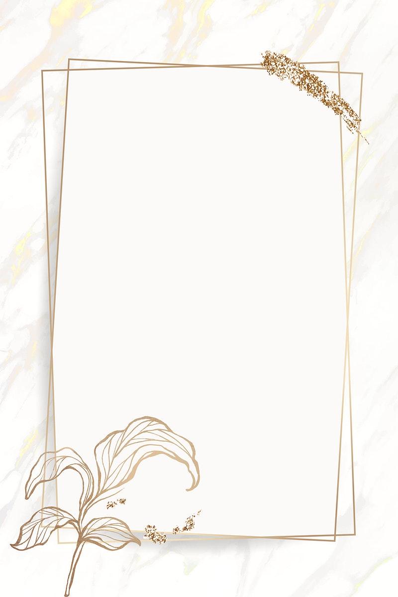 Gold leaves frame with brush stoke vector