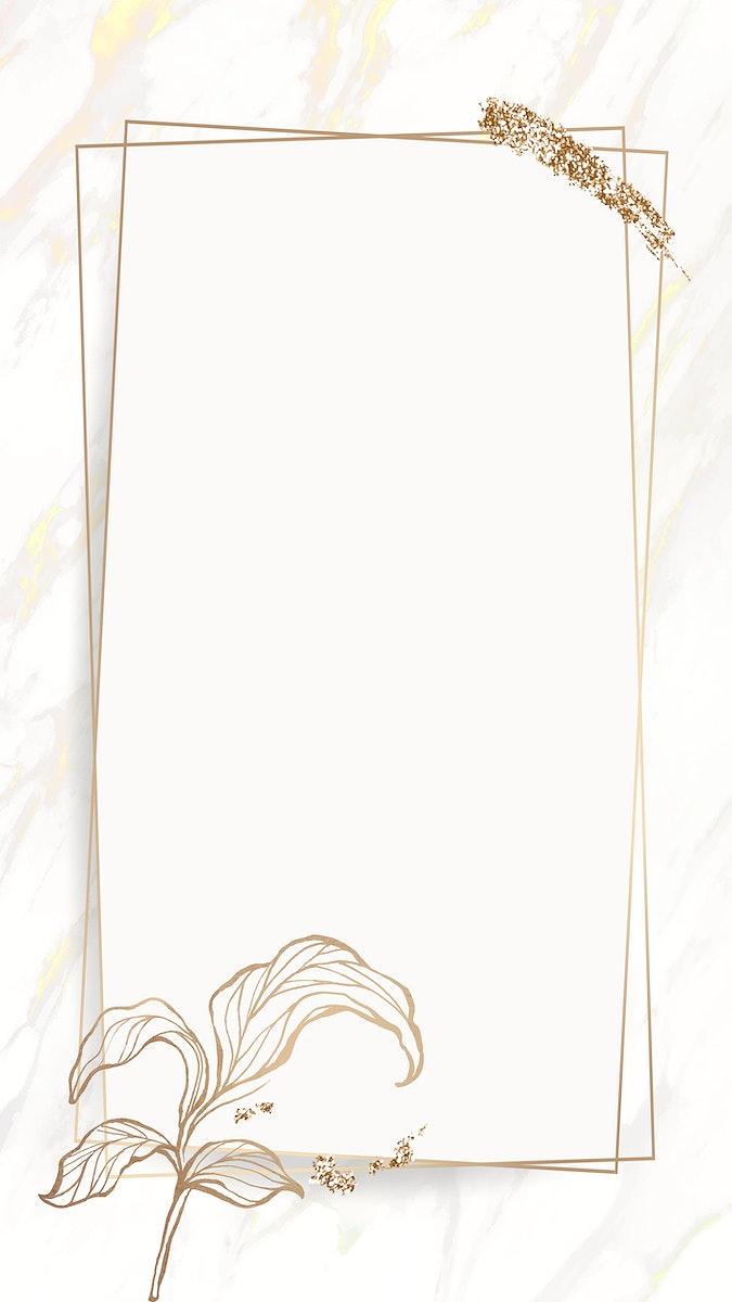 Gold leaves frame with brush stoke mobile phone wallpaper vector