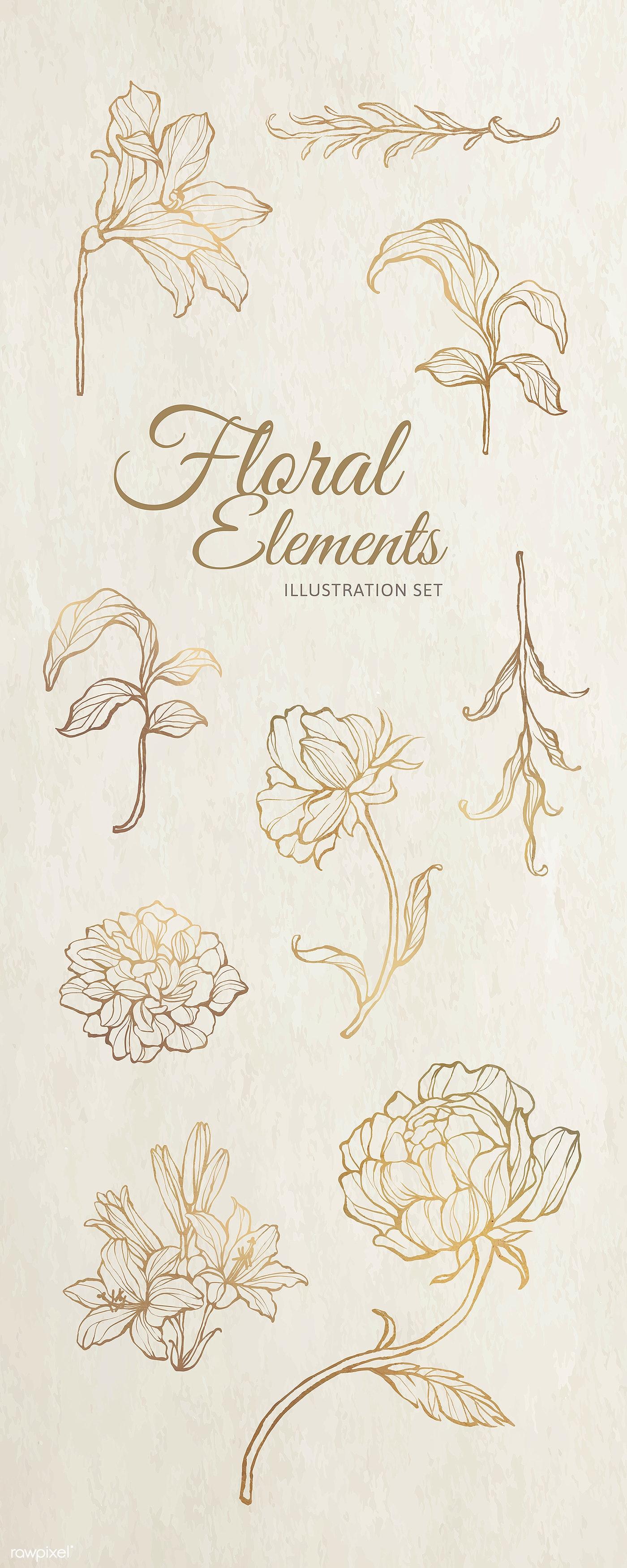 Metallic Floral Pattern Pinterest Banner Royalty Free Vector