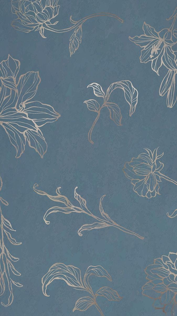 Gold floral outline background mobile phone wallpaper vector