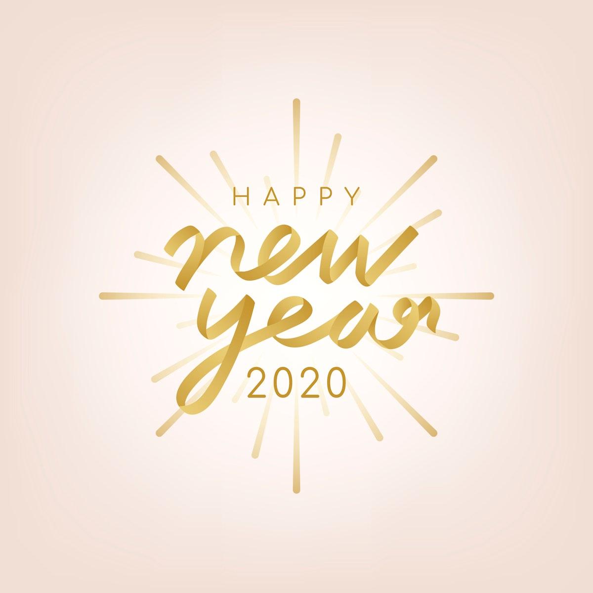 Golden happy new year 2020 vector